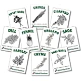 Organic Herb Seeds - Non GMO Heirloom Non Hybrid Seed (10 Culinary Varieties Pack)