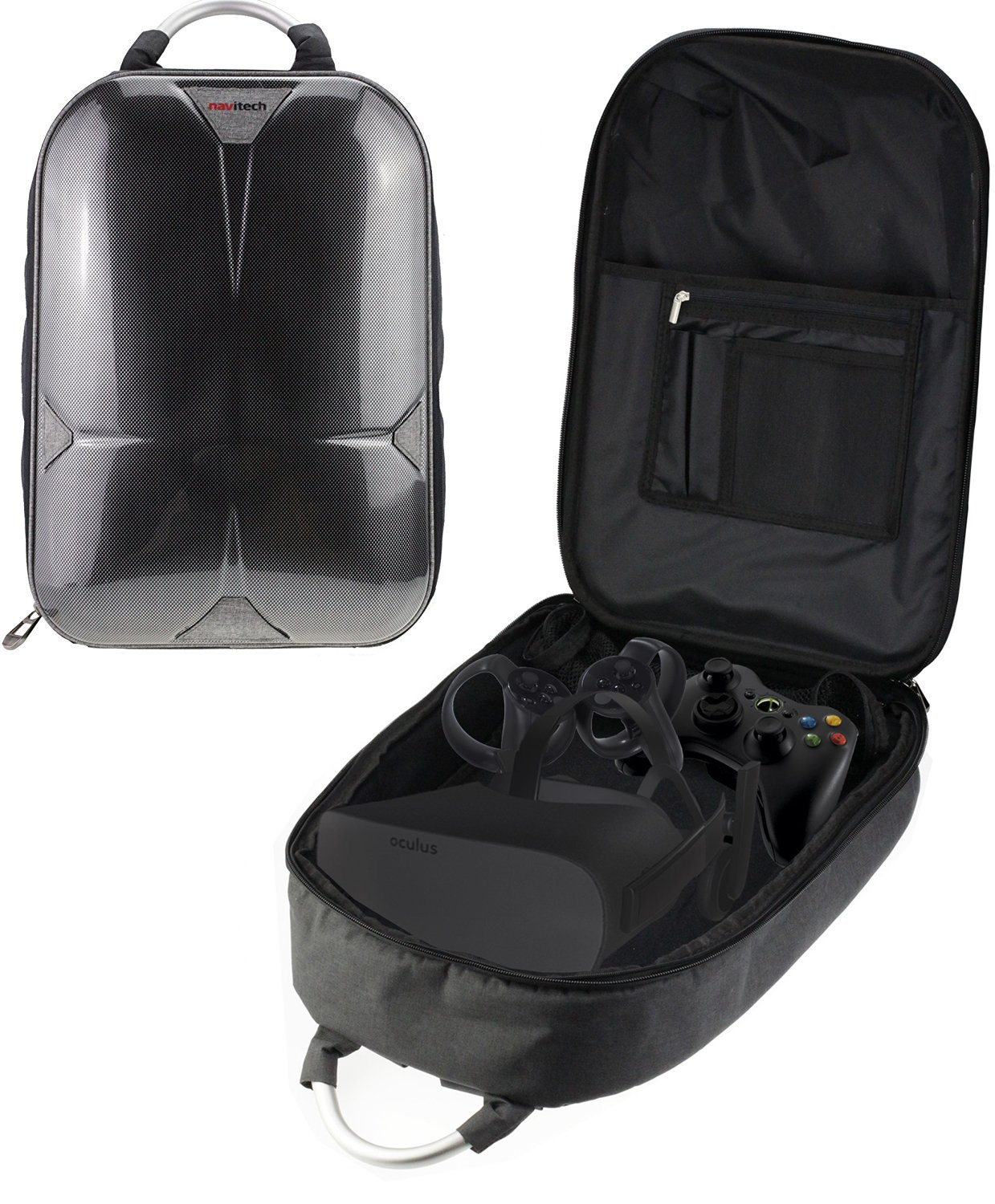 Navitech Rugged GreyBackpack / Rucksack / Travel Case / Case For The Oculus Rift + Oculus Touch Controller