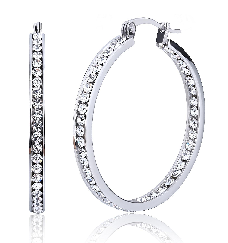 Jstyle Stainless Steel Womens Hoop Earrings Cubic Zirconia Earrings for Teen Girls 90869v35
