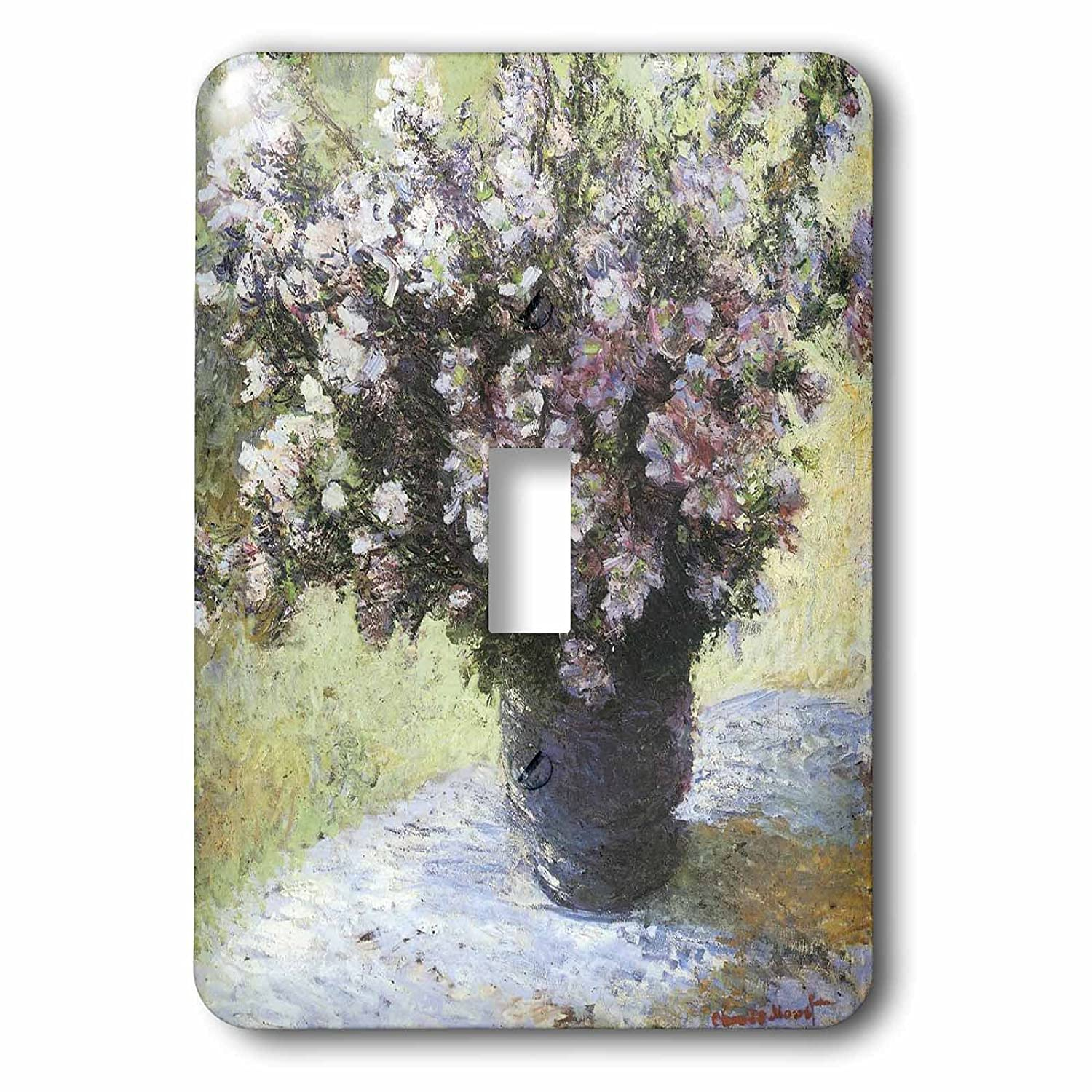 3dRose lsp_110456_1 Flowers In A Vase Vintage Monet Single Toggle Switch Multicolored