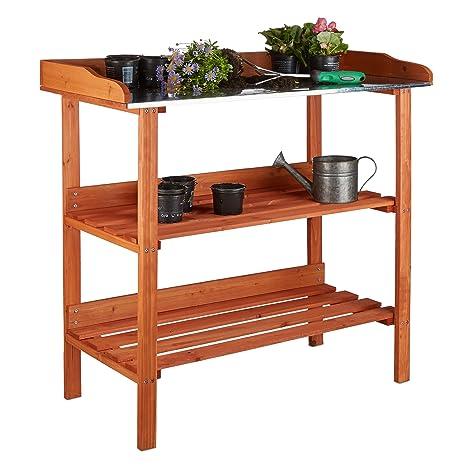 Relaxdays Table de préparation pour semis en bois avec plan de travail en  métal 3 étages potager serre HxlxP: 87,5 x 91,8 x 41,5 cm, orange