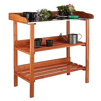 relaxdays table de prparation pour semis en bois avec plan de travail en mtal 3 tages