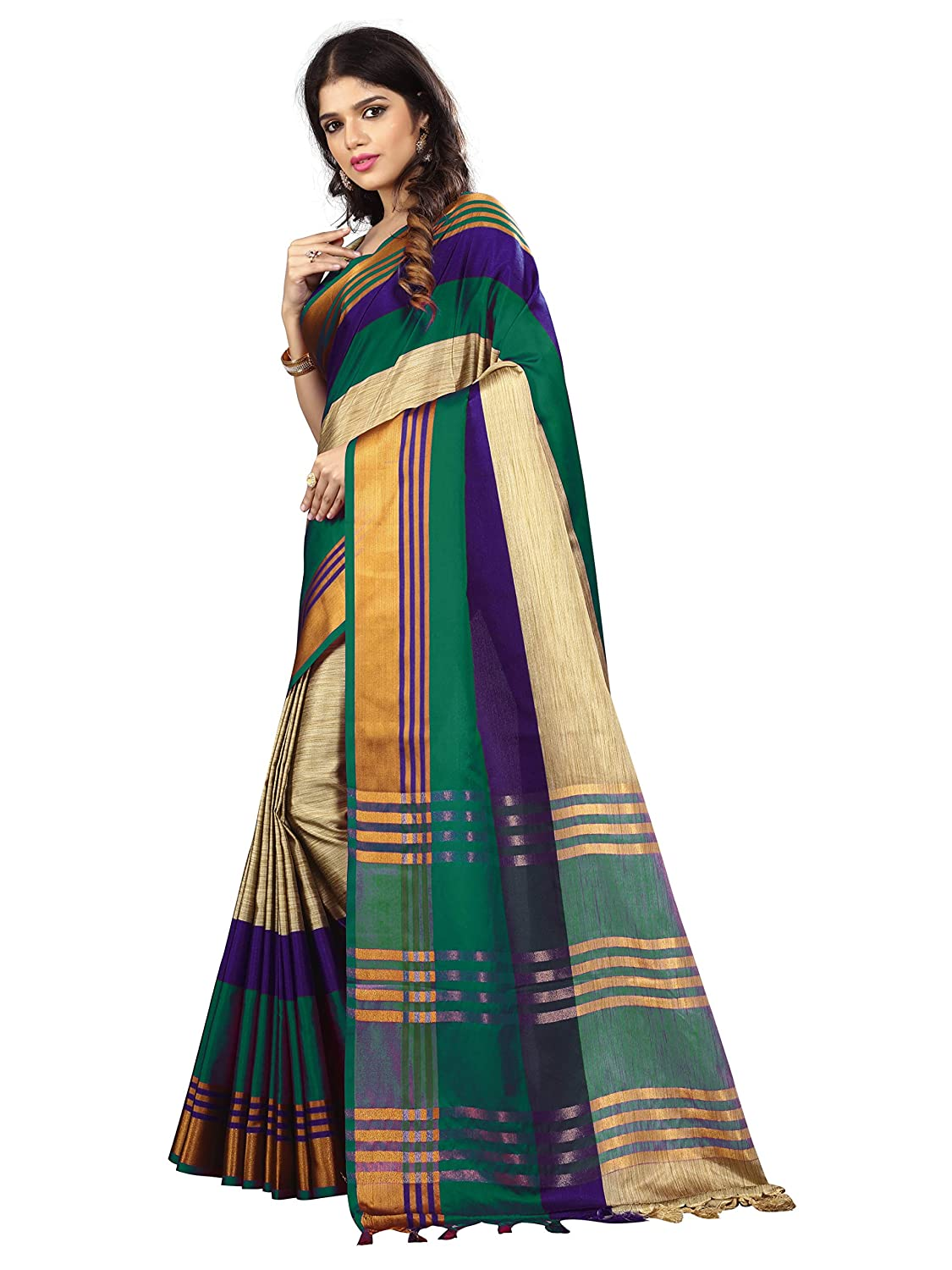 411bdaf3db9 Vastrang Sarees Women s Poly Cotton Silk Sarees With Blouse Piece    Tassels 5461CR(Green Purple)  Amazon.in  Clothing   Accessories