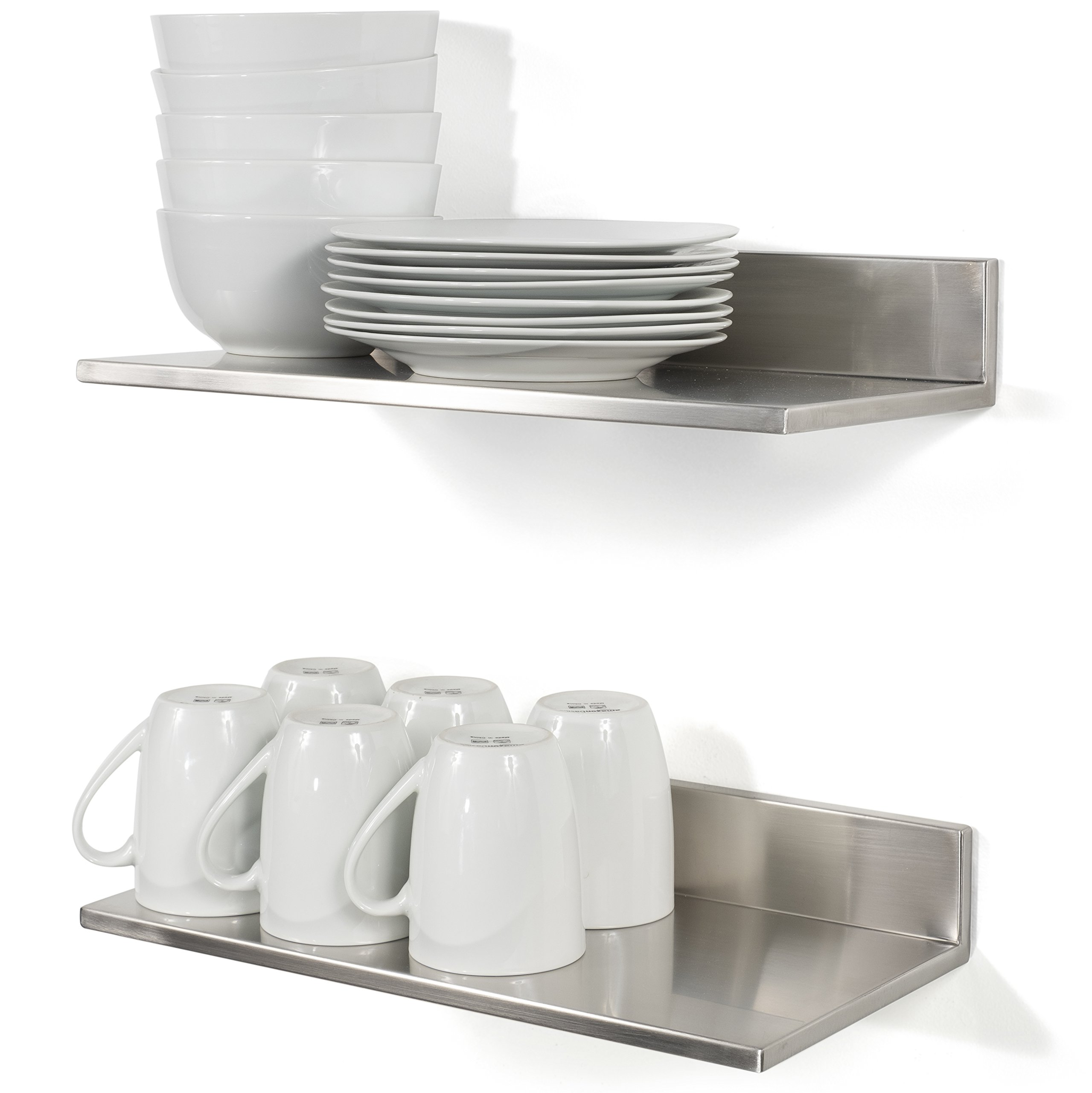 Stainless Steel Wall Mount Commercial and Home Use Premium Quality 15 3/4 Inches Kitchen Floating Shelves Set of 2 Silver by Fasthomegoods