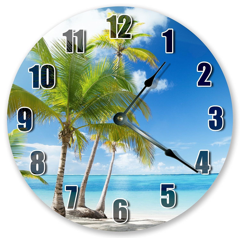 10.5 SEASHORE WITH PALM COCONUT TREE CLOCK Large 10.5 Wall Clock Home D/écor Clock