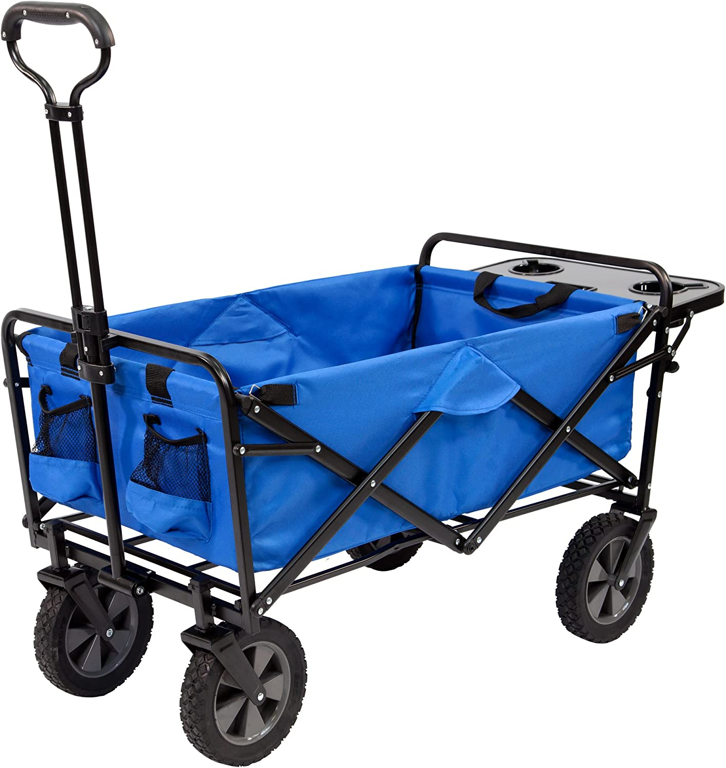 Mac Sports Collapsible Folding Outdoor Utility Wagon with Side Table – Blue