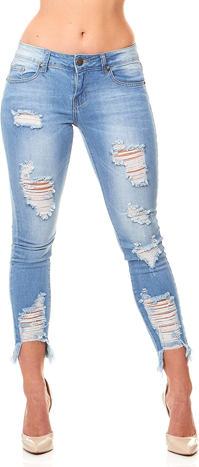 Only Damen Jeans Skinny Fit Stretch Distressed Denim Used Look Casual NEU