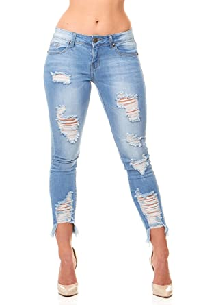5c2417ff4e0 Image Unavailable. Image not available for. Color  Ripped Distressed  Patched Skinny Stretch Jeans for Women Bottom Cuff Low Waisted Plus Size ...