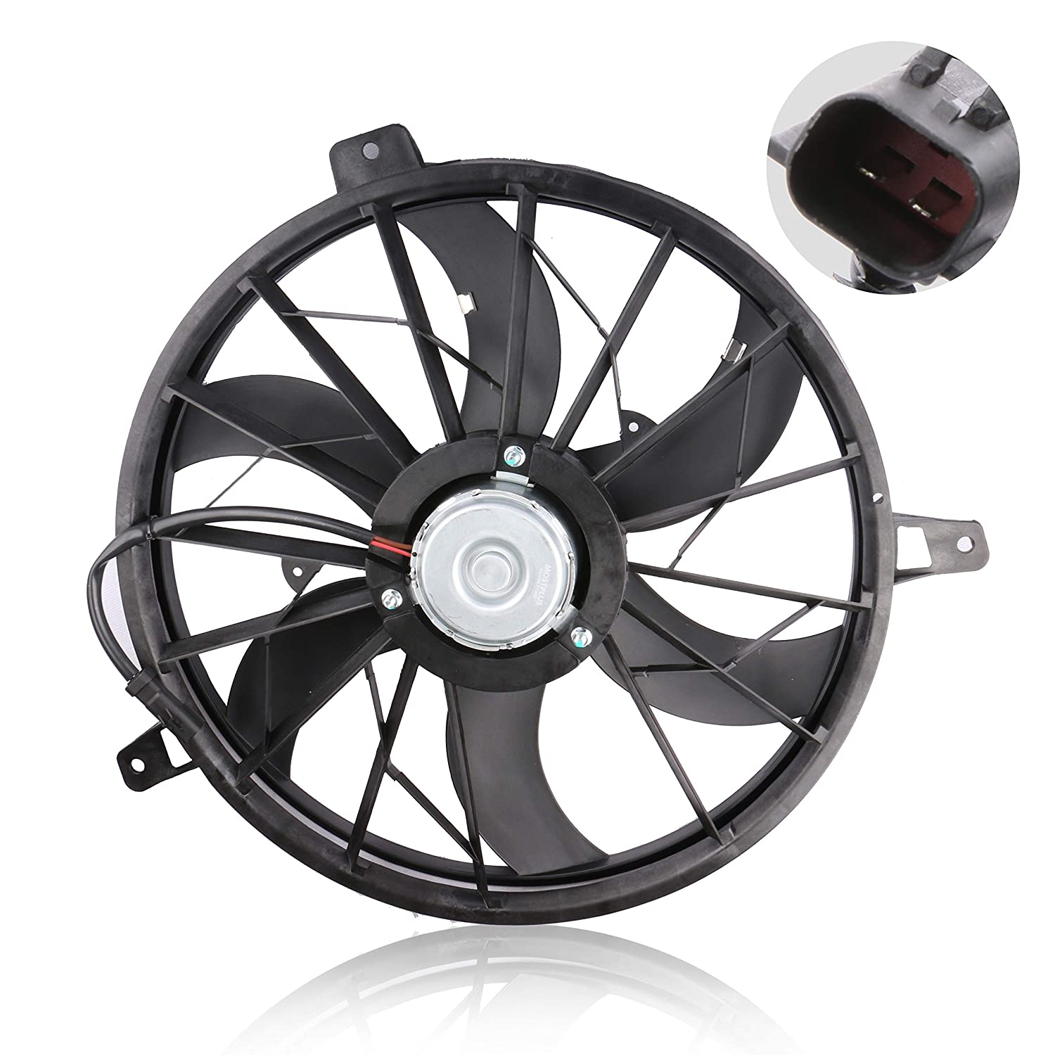 MOSTPLUS Front Radiator Cooling Fan Assembly Replace for Jeep Grand Cherokee 4.0L 4.7L 1999-2003 Replaces 674-00389 52079528AB