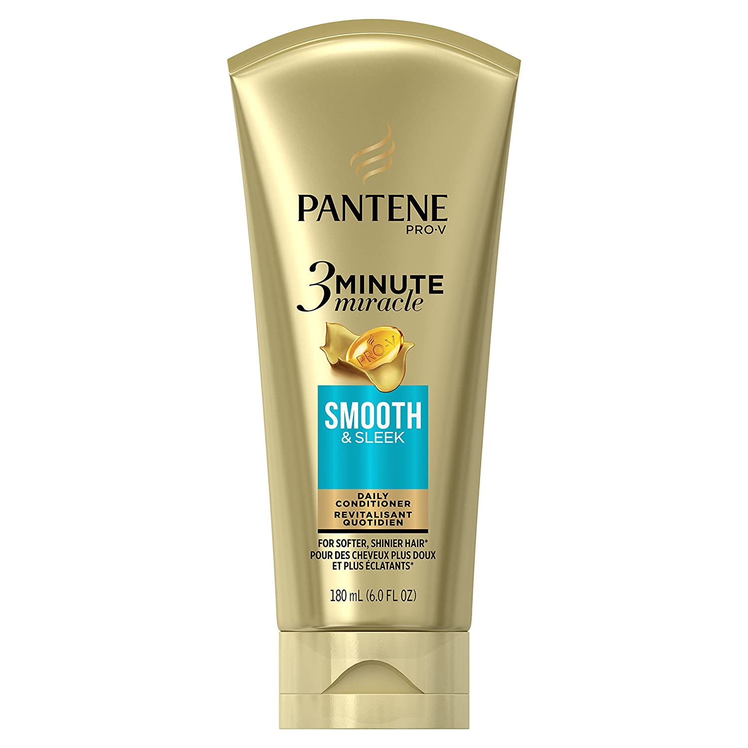 Pantene Smooth & Sleek 3 Minute Miracle Daily Conditioner, 6.0 fl oz (Packaging May Vary)