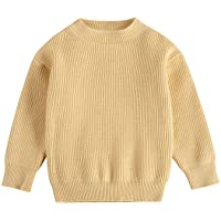 Toddler Baby Girl Boy Knit Sweater Loose Solid Color Long Sleeve Warm Pullover Tops Fall Winter Clothes