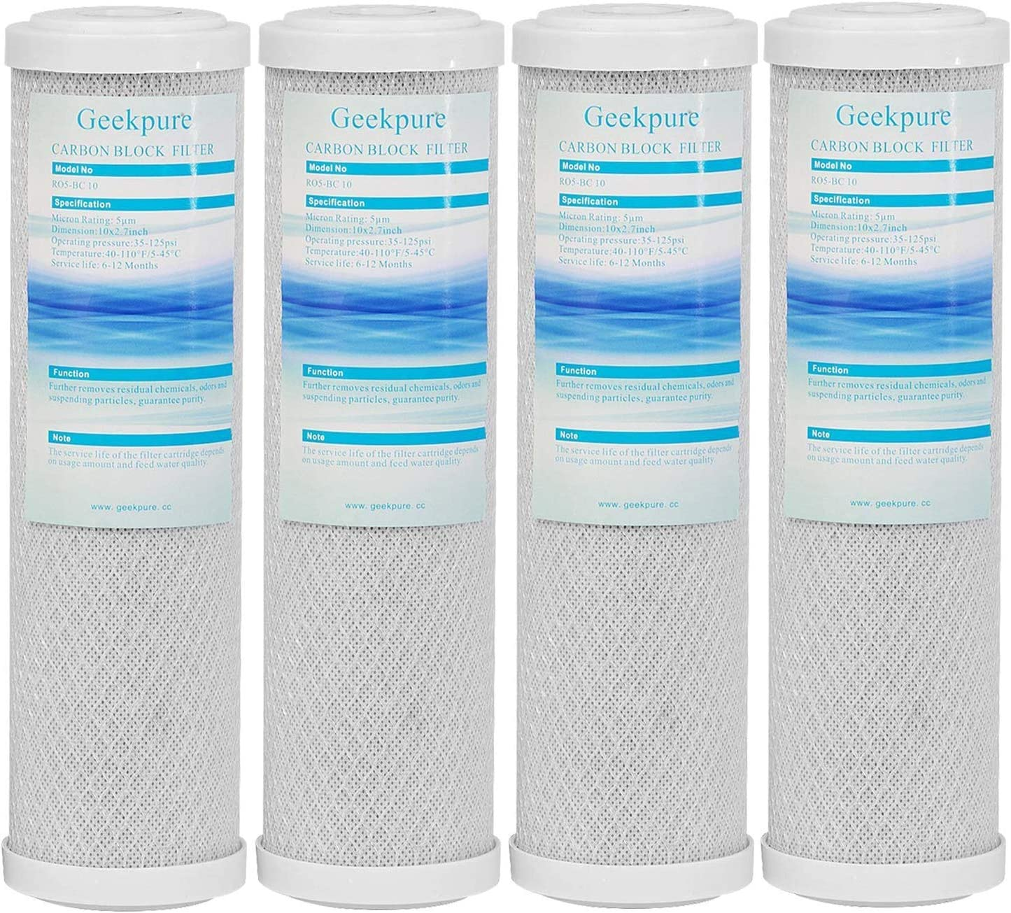 4.5 Inch x 20 Inch Geekpure 20-Inch Universal Compatible Big Blue Carbon Block Water Filter Cartridge