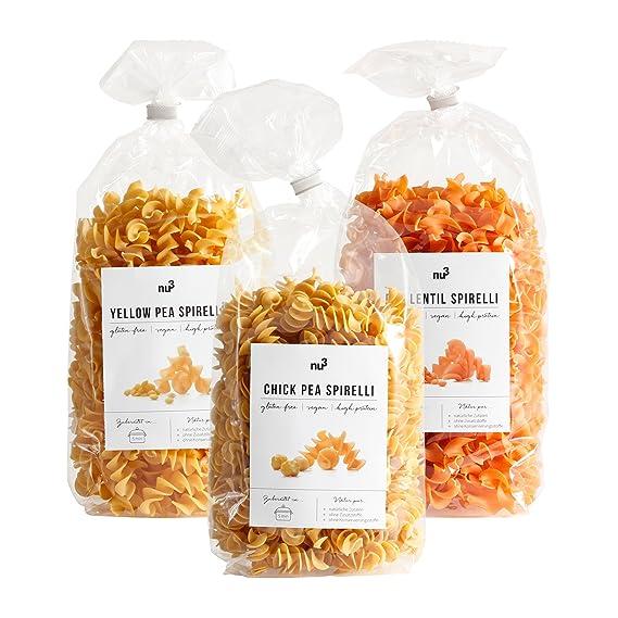 nu3 Paquete de pastas low carb | Pasta de garbanzo, guisantes rojos y amarillos |
