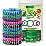 ECOTRONIK Natural Mosquito Repellent Bracelet Bug Bands 10 PACK - DEET FREE Waterproof Mosquitoe Wristbands KEEP AWAY Insects & Bugs, Safe for Children