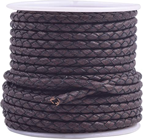 KONMAY 5 Yards 3.0mm Brown Genuine Leather Braided Bolo Leather Cord