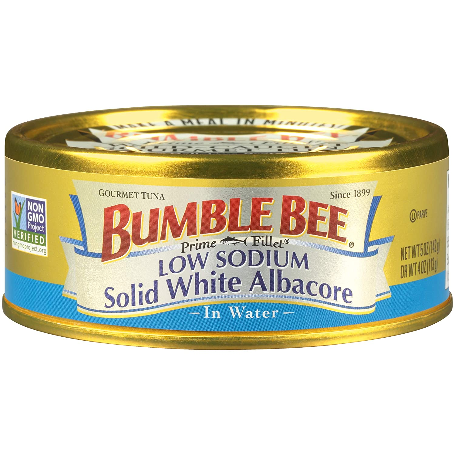 BUMBLE BEE Prime Fillet Solid White Albacore Tuna in Water, Low Sodium, Canned Tuna Fish, High Protein Food, 5 Ounce Can (Pack of 12)