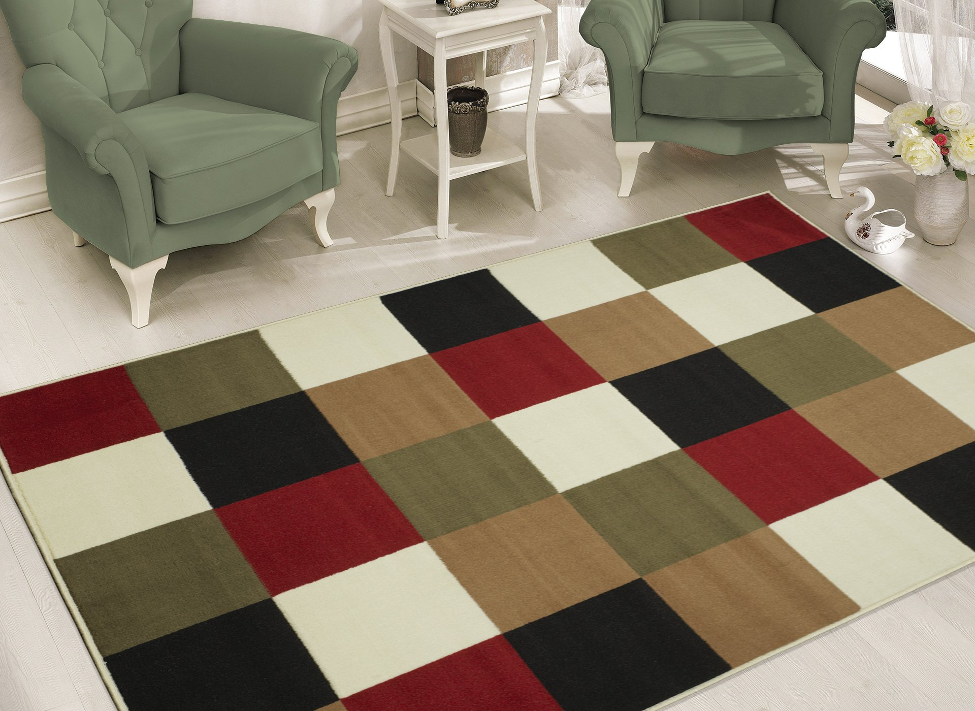 Sweet Home Stores BCF1639-5X7 Boxes Design Area Rug, 5'3'' x 7', Multicolor