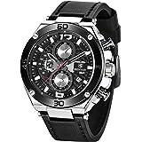 BENYAR - Wrist Watch for Men, Genuine Leather Strap Watches, Quartz Movement, Waterproof Analog Chronograph Business…