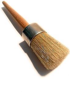 Chalkology - Professional Wax Brush, Chalk Waxing, Pure Bristle, Varnished Wood Handle