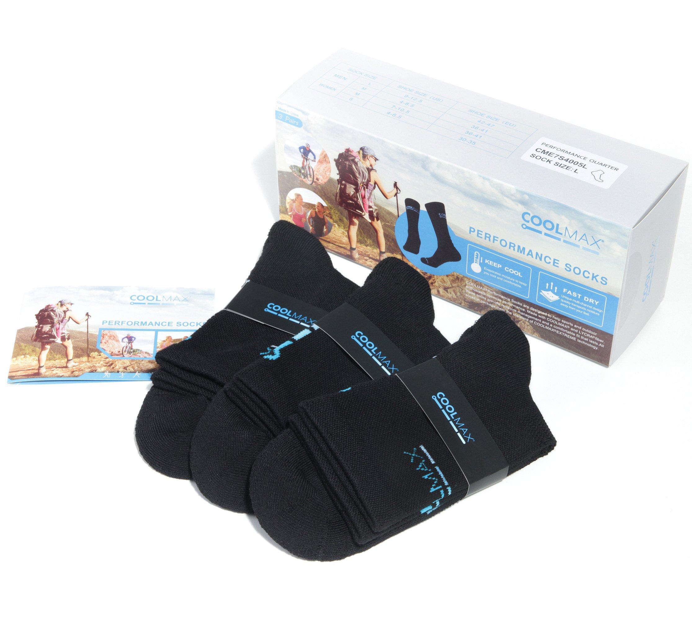 COOLMAX Brand 3 Pack High Performance Athletic Quarter Cushion Socks for Mens Womens (L size)