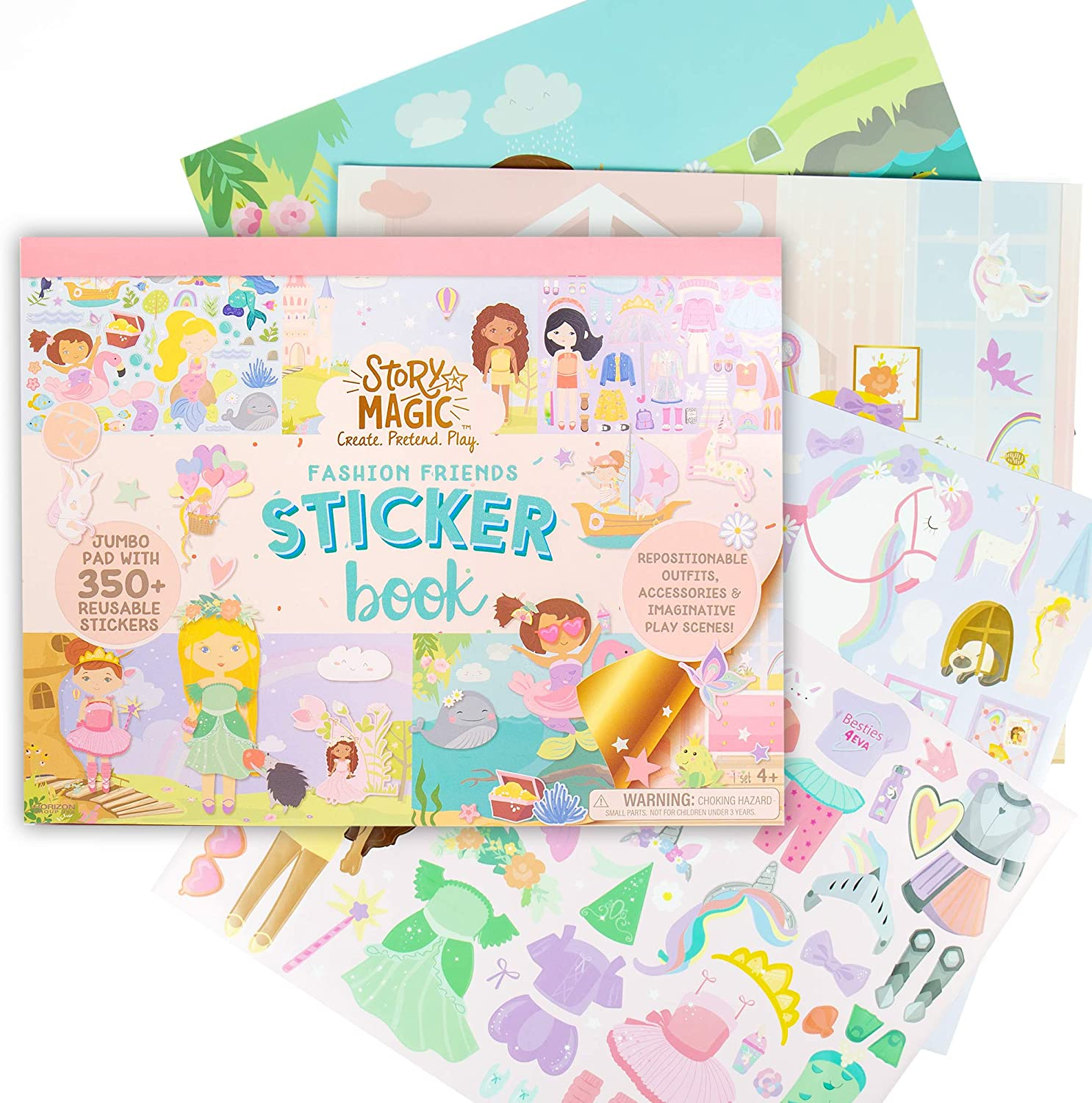 Story Magic Large Sticker Book by Horizon Group USA, Create Your Own Magical Adventures Inside a 14