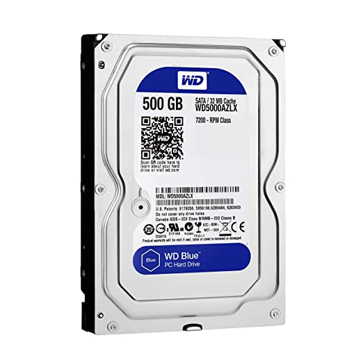 WD Blue 500GB Internal SATA Hard Drive (WD5000AZLX) SATA at amazon