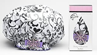 product image for Dry Divas Designer Shower Cap For Women - Washable, Reusable - Large Bouffant Cap With Vintage Jeweled Brooch (I Heart U)