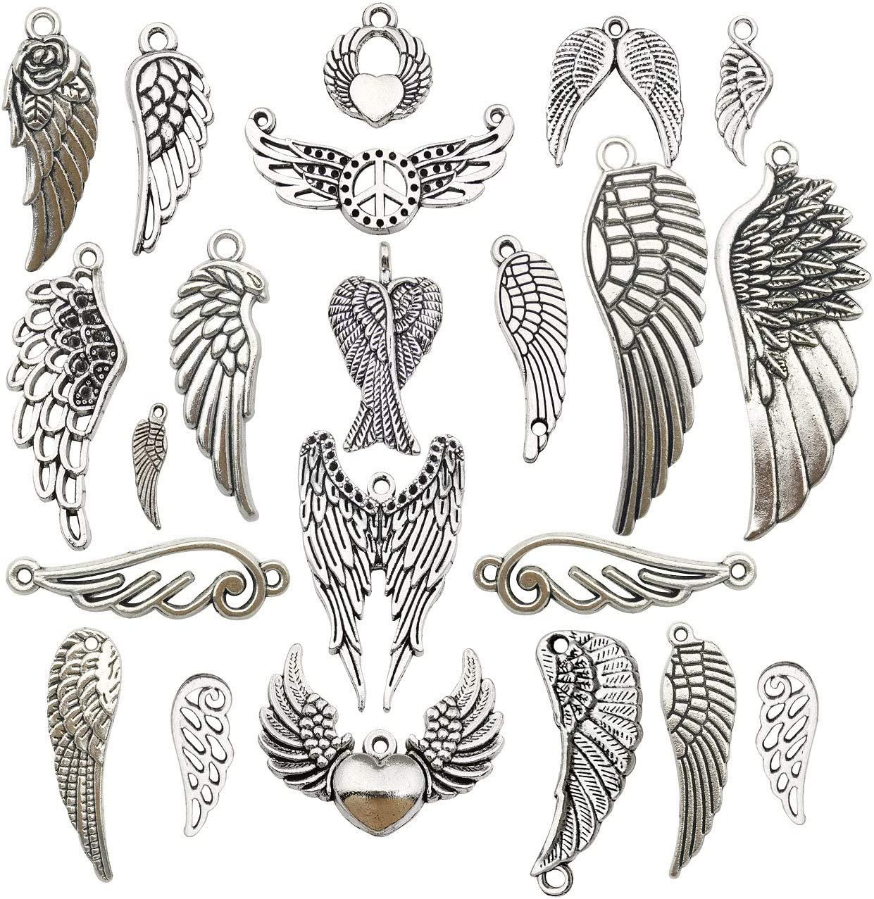FOGAWA 140Pcs Tibetan Wings Vintage Angel Wing Charm Spacer Beads Silver Jewellery Beads for Bracelet Necklace Jewelry Making Findings with Container Box 7 Styles