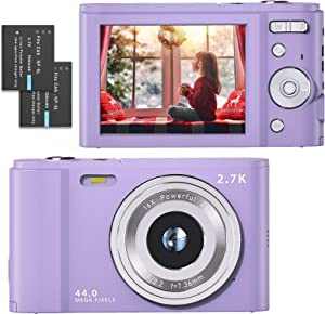 Mini Digital Camera 2.7K Ultra HD 2.88 Inch LCD 44 MP Rechargeable FamBrow Digital Video Camera Pocket Vlogging Camera Kids Cameras with 16X Digital Zoom for Beginner Photography (Purple)