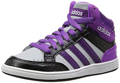 Adidas - Hoops Mid K - AW5130 - Color  Black-Violet-White - Size ... 31553d9b312