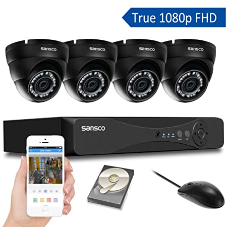 SANSCO Home Security Camera System with 1080P 4-Channel DVR and 4 Dome Cameras All HD 1080p 2MP , 1TB Internal Hard Drive Surveillance Cameras Kit