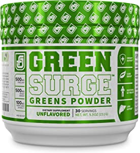 Green Surge Green Superfood Powder Supplement - Keto Friendly Greens Drink w/Spirulina, Wheat & Barley Grass - Green Tea Extract, Probiotics and Digestive Enzymes - Unflavored - 30sv