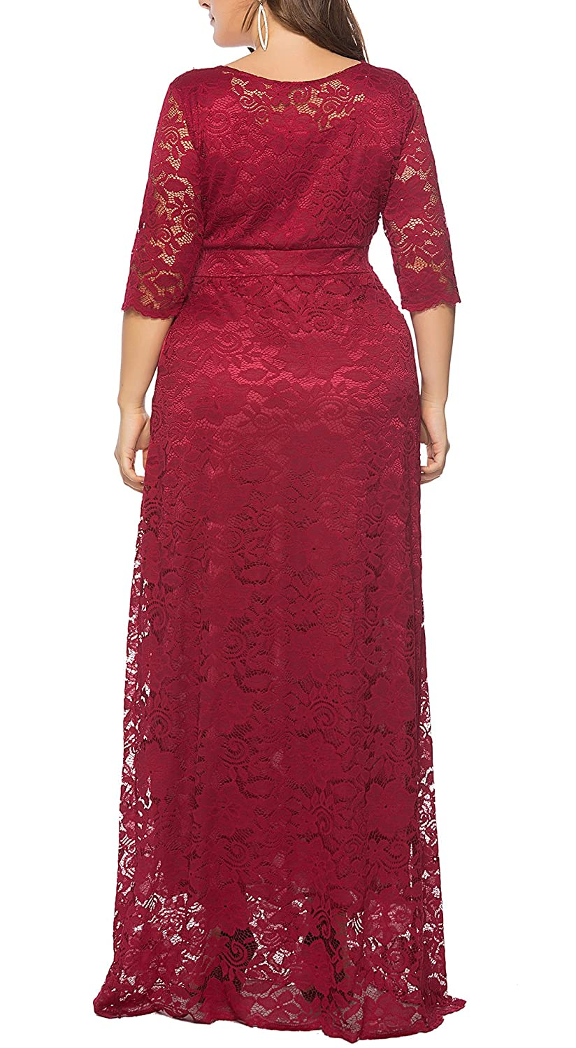 02c9a812141 Eternatastic Womens Floral Lace 2 3 Sleeves Maxi Dress Plus Size Evening  Party Dress