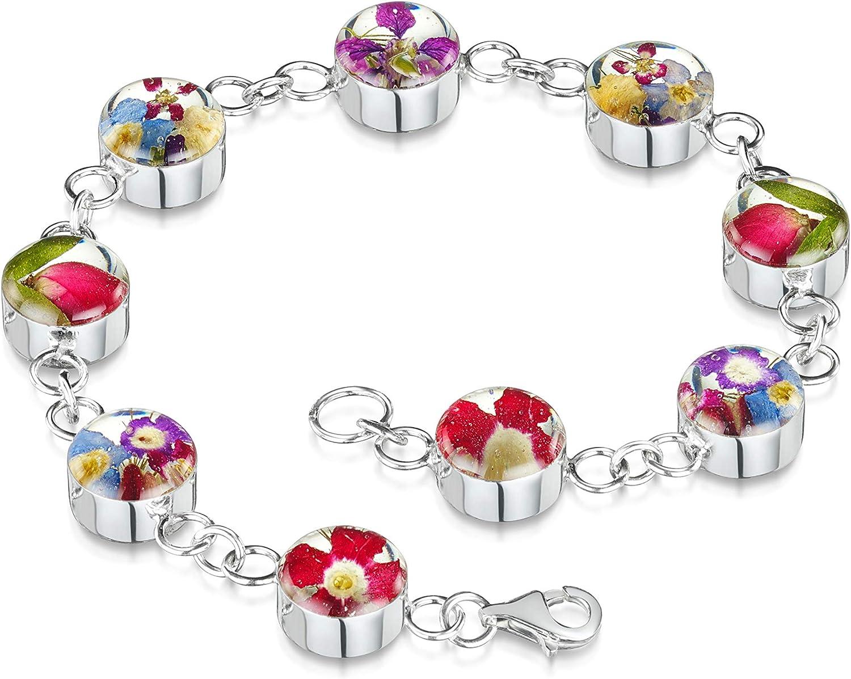 Joyería de flores de Shrieking Violet®. Pulsera de plata de ley hecha a mano con flores reales – flores mixtas – Regalo ideal para mamá o abuela.