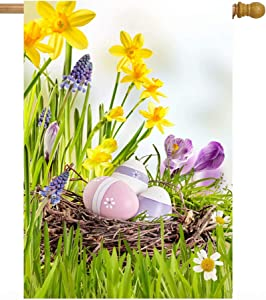 ShineSnow Fresh Spring Flowers with Easter Eggs Floral Summer Daisies Grass House Flag 28