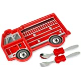 KidsFunwares Me Time Meal Set (Fire Engine) – 3-Piece Set for Kids and Toddlers – Plate, Fork and Spoon that Children Love - Sparks your Child's Imagination & Teaches Portion Control - Dishwasher Safe
