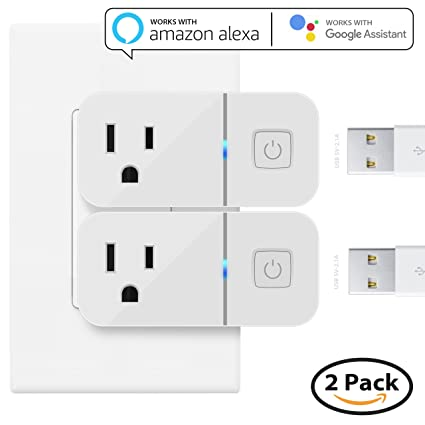 Mini Smart Plug funciona con Alexa, maxonar 2 Pack WiFi Smart Socket con Amazon Echo