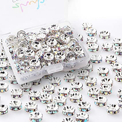 ec3a862f2 Image Unavailable. Image not available for. Color: Crystal Rondelle Spacer  Beads 8mm 100pcs Crystals ...