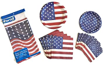 Party Creations - American Flag Party Supplies/Disposable Paper Dinnerware - For 16 Guests -  sc 1 st  Amazon.com & Amazon.com: Party Creations - American Flag Party Supplies ...