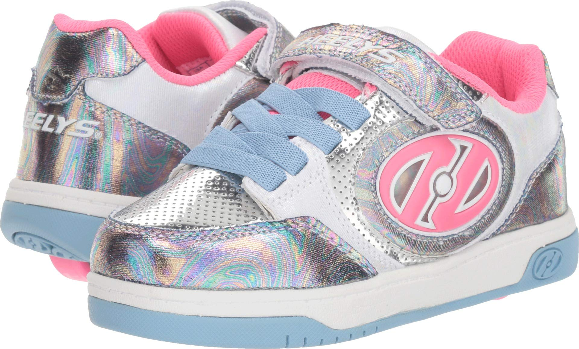 Heelys Girls Plus X2 Lighted Tennis Shoe, Blue/Hologram/Fuchsia, 3 M US Little Kid
