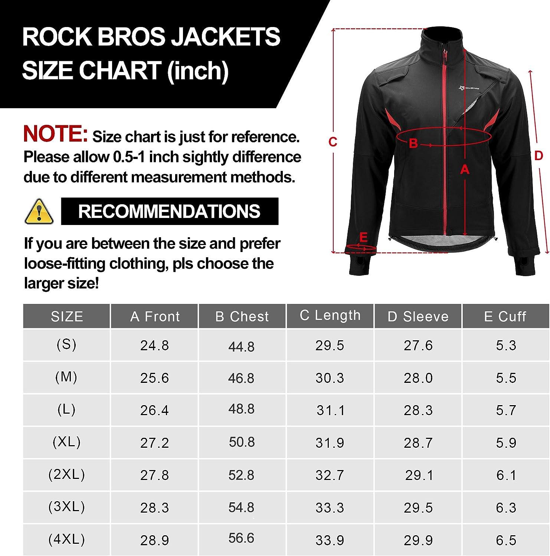 ROCK BROS Winter Cycling Jacket for Men Thermal Fleece Windproof Jacket Running Biking Hiking