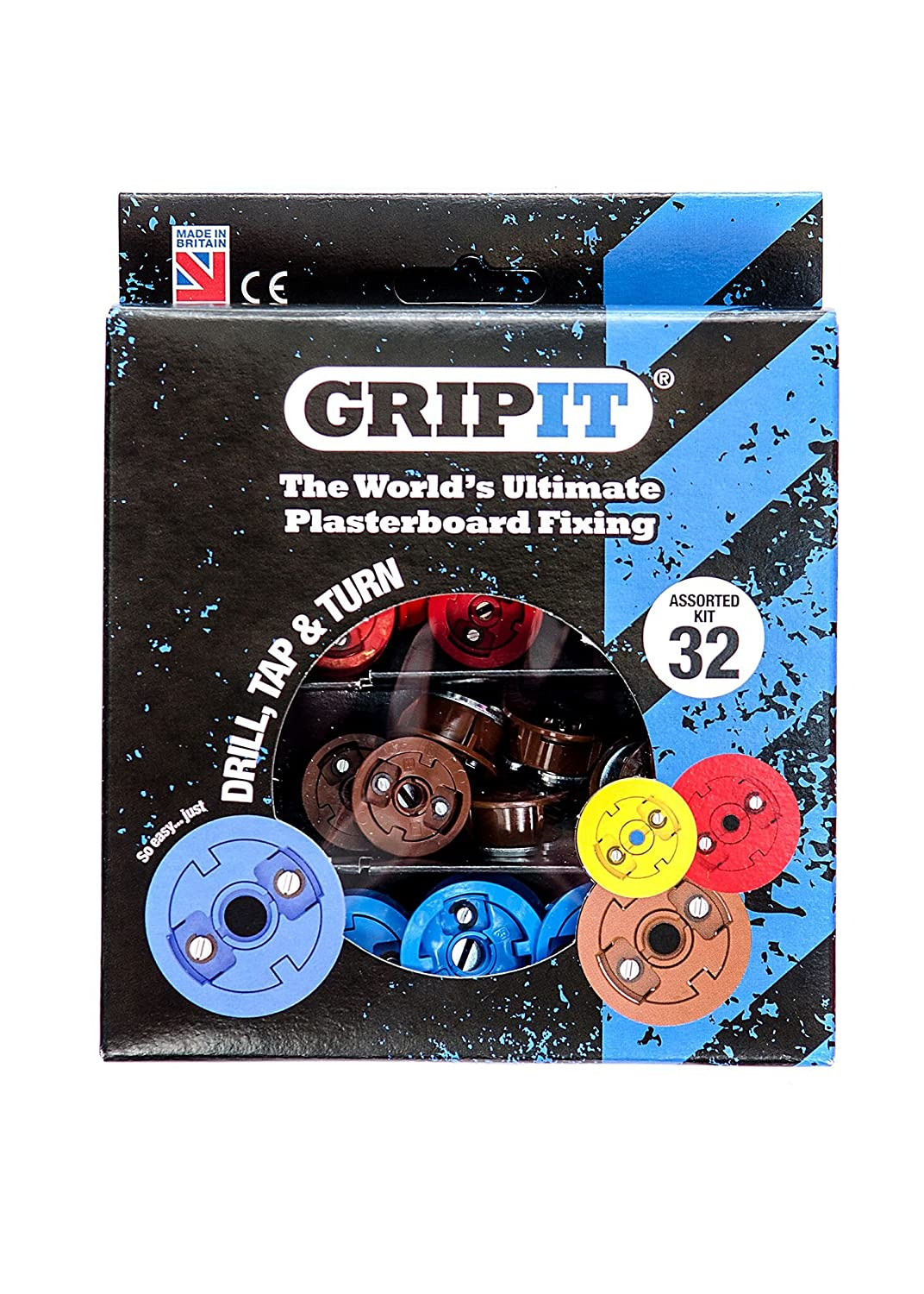 GripIt Drywall Anchor Fixing Kit Holds Up To 250 Pounds or 113 Kilograms Of Weight. Perfect For Hanging Heavy Such as TVs, Boilers, Cabinets on Plasterboard Walls.. Removable and Reusable Screws (32 Fixings) Grip-It GSTARTKIT-001