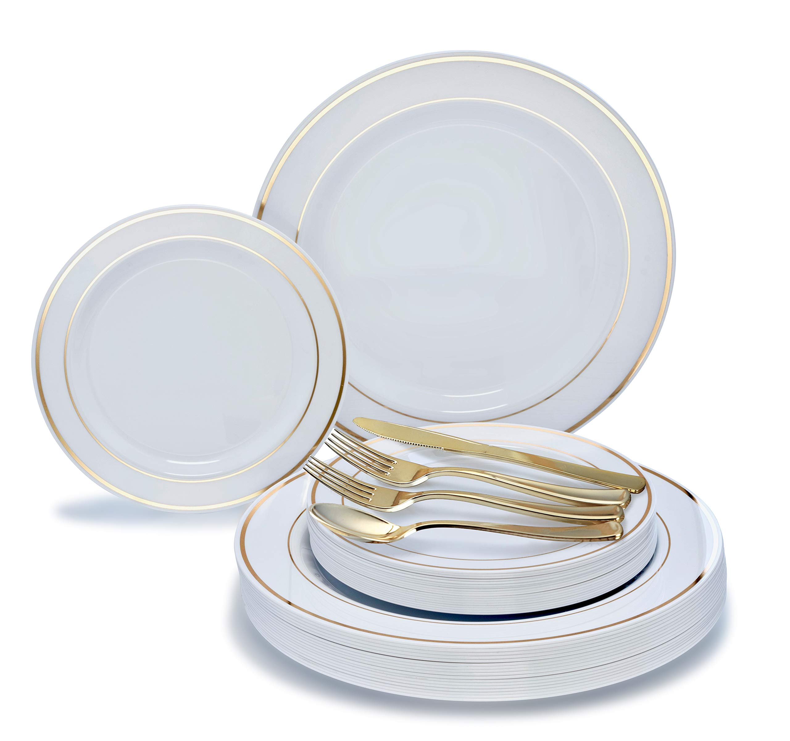 '' OCCASIONS'' 720 PCS / 120 GUEST Wedding Disposable Plastic Plate and Silverware Combo Set, (White/Gold Rim plates, Gold silverware) by OCCASIONS FINEST PLASTIC TABLEWARE (Image #3)