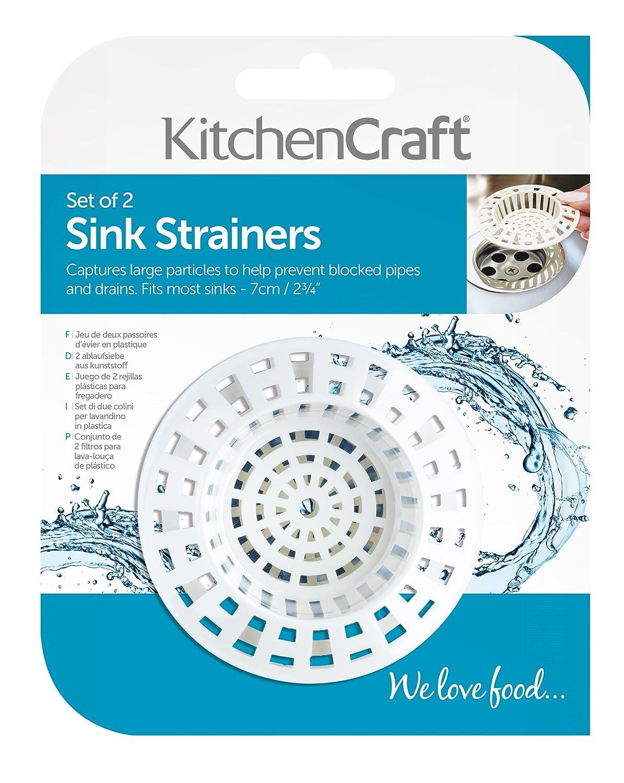 KitchenCraft Plastic Bath/Kitchen Sink Strainer Set, 7 cm (Pack of 2 ...
