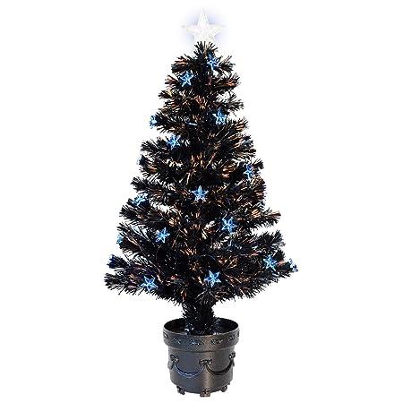 3ft 90cm Black Fibre Optic Artificial Indoor Christmas Tree With Blue LED  Stars - 3ft 90cm Black Fibre Optic Artificial Indoor Christmas Tree With