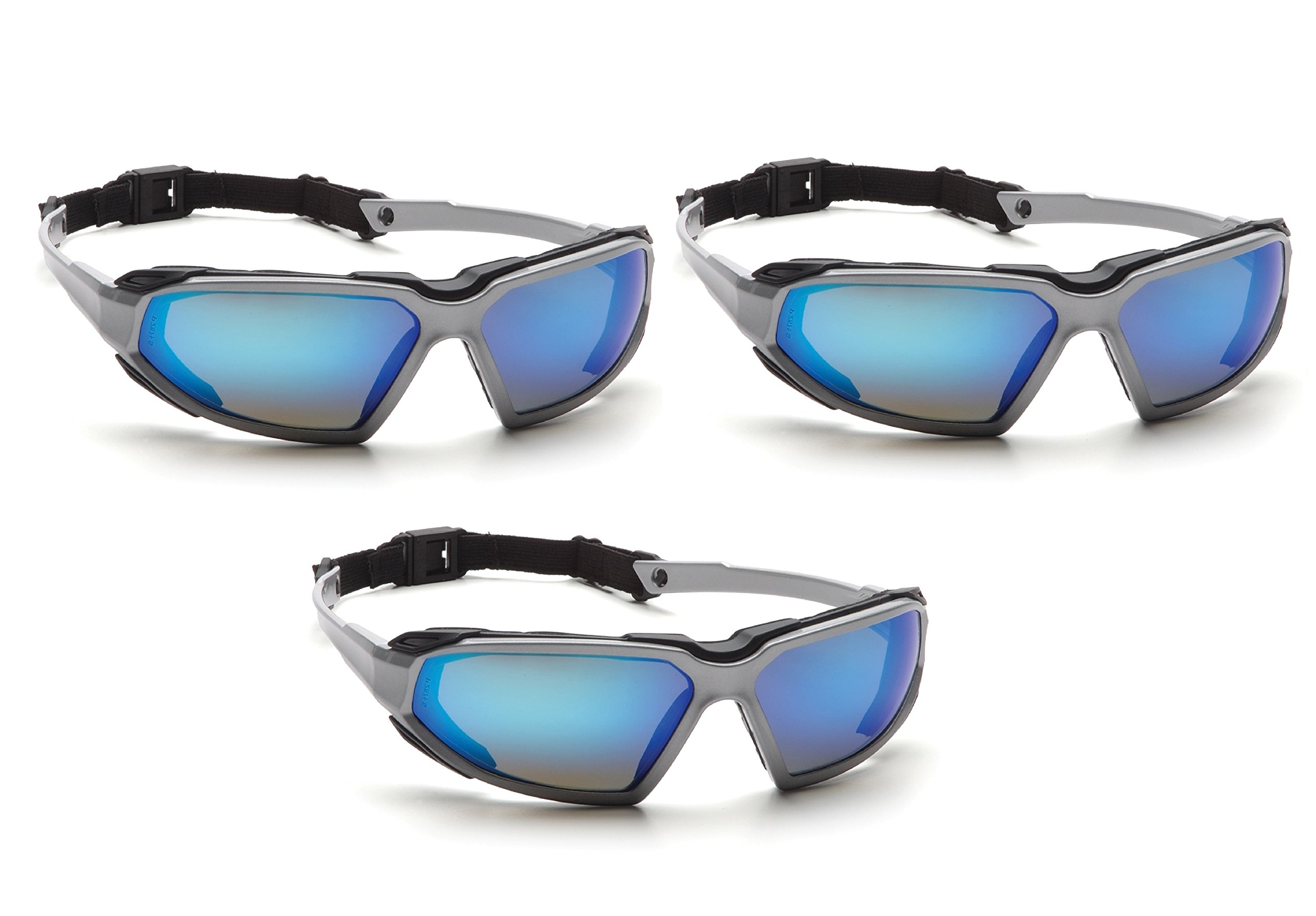 Highlander Pyramex Safety Eyewear (Silver-Black Frame/Ice Blue Mirror Anti-Fog Lens) (3) by Highlander
