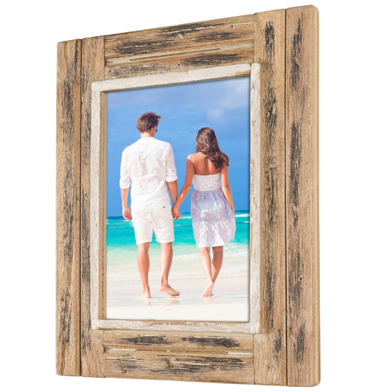 Shabby Chic Rustic Wood Frame: Holds an 5''x7'' Photo: Ready to Hang, Ready to Stand with Built in Easel, Rustic, Distressed, Driftwood, Barnwood, Farmhouse, Reclaimed Wood Picture Frame by Excello Global Products