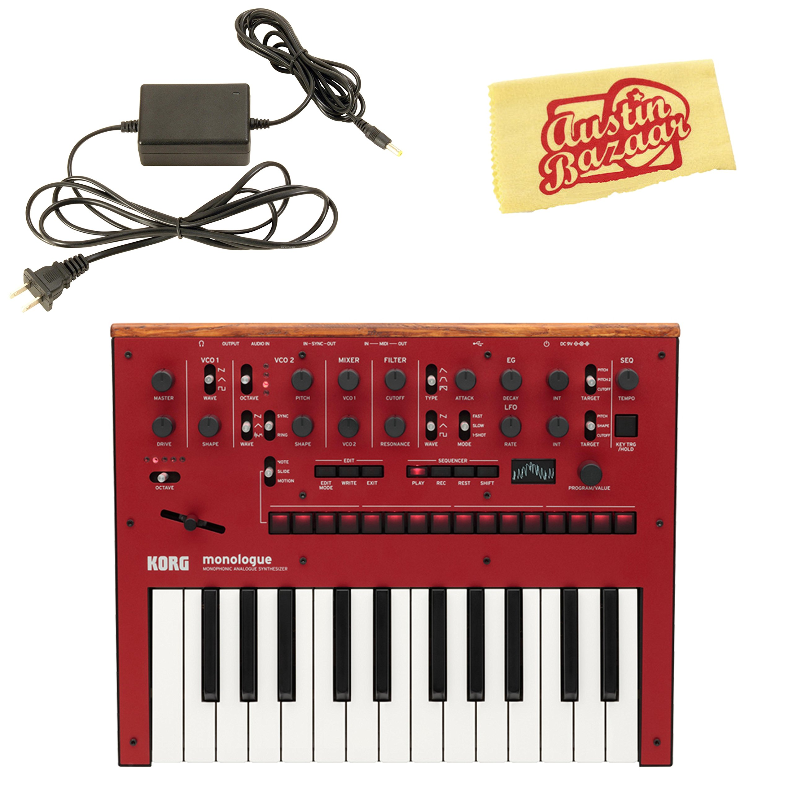 Korg Monologue Monophonic Analog Synthesizer - Red Bundle with Power Supply and Austin Bazaar Polishing Cloth by Korg