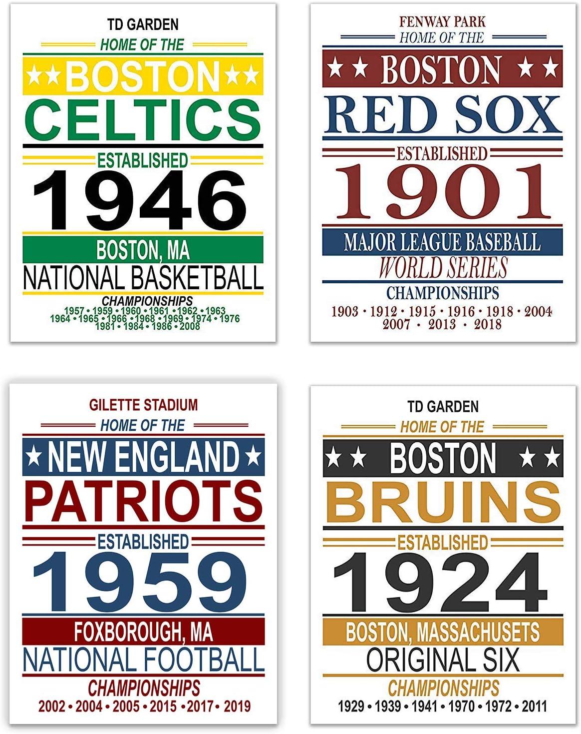 Boston Vintage Sports Posters - Set of Four 11x14 Prints - Celtics, Red Sox, Patriots, Bruins - NBA, MLB, NFL, NHL Memorabilia Fan Art