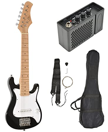 Kinder E-Gitarre Schwarz mit Verstärker Lautsprecher Tasche und Gurt ...